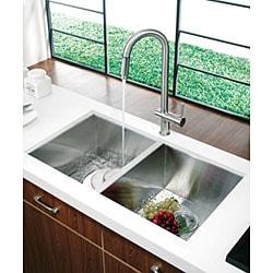 VIGO 32-inch Undermount Stainless Steel 16 Gauge Double Bowl Kitchen Sink