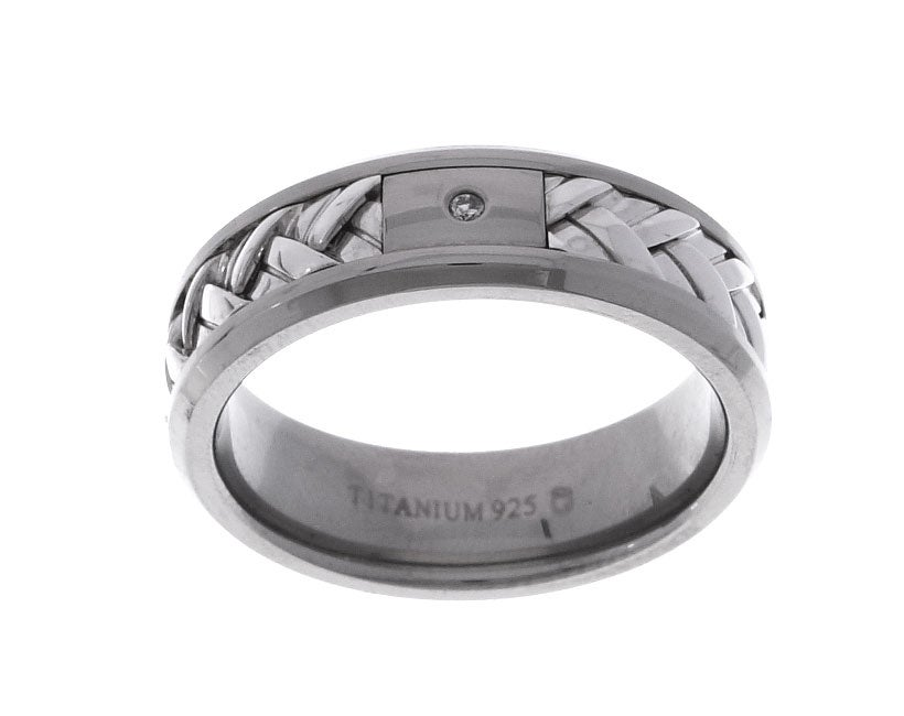 Titanium and Silver Diamond Accent Woven Design Ring