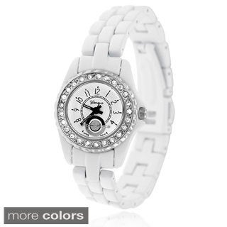 Geneva Women's Platinum Rhinestone Metal Link Watch