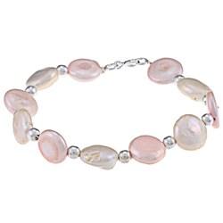 Glitzy Rocks White & Pink Cultured Freshwater Pearl Bracelet