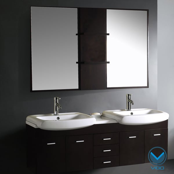 Vigo Double Contemporary Vanity Set