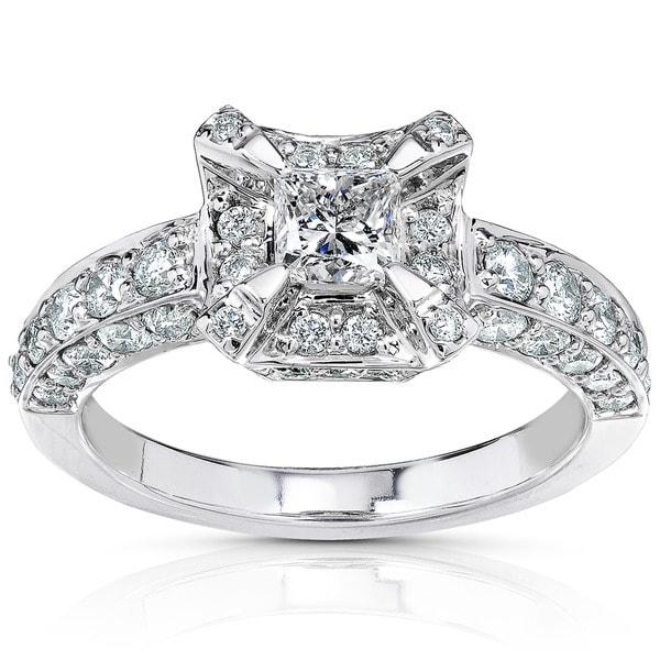 Annello 14k Gold 1 1/6ct TDW Princess Diamond Halo Engagement Ring (H-I, I1-I2)