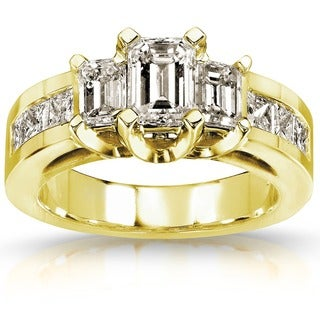 Annello 14k Gold 2ct TDW Certified Diamond Engagement Ring (H-I, SI1-SI2)