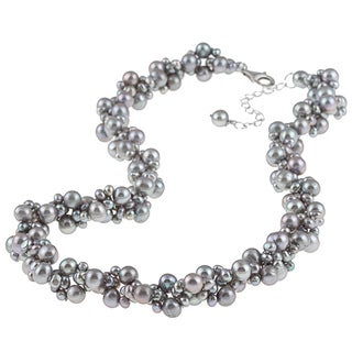 DaVonna Silver Grey FW Pearl 18-inch Cluster Necklace (3-6 mm)