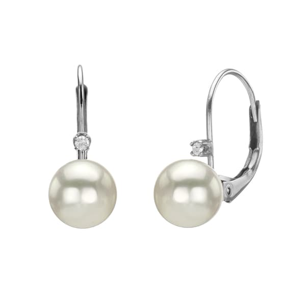 DaVonna 14k Gold 8mm Akoya Pearl and 1/10ct Diamond Earrings with Gift Box