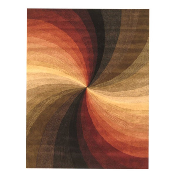 Hand-tufted Swirl Wool Rug (7'9 x 9'9)