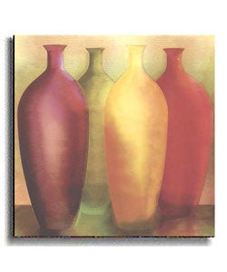 Four Vases by Deborah Jones Stretched Canvas Art