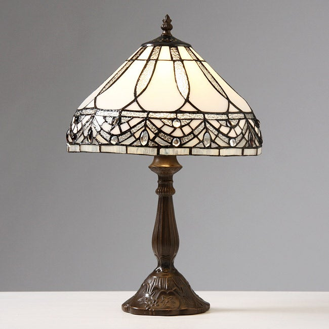 tiffany style mission style white table lamp. Black Bedroom Furniture Sets. Home Design Ideas