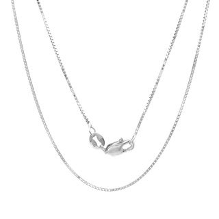 Sterling Essentials 14k White Gold Light Box Chain Necklace