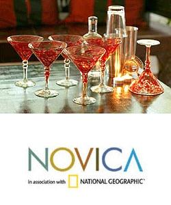 Set of 6 Crimson Swirl Memoirs Martini Glasses (Mexico)