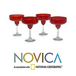 Set of 4 Scarlet Freeze Margarita Glasses (Mexico)