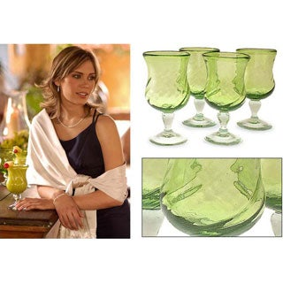Blown Glass Lime Twist Goblets, Set of 4  (Mexico)