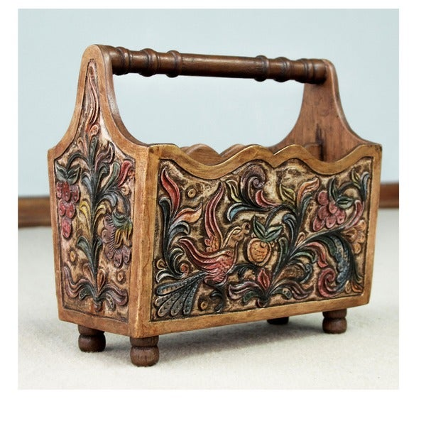 Songbirds Traditional Hand Painted Multicolor Tooled Leather and Polished Mahogany with Carrying Handle Magazine Rack (Peru)