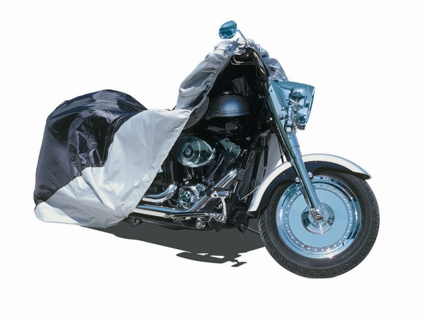 Large Black/Silver Nylon Motorcycle Cover (Fits 500cc-1,100cc Bikes)