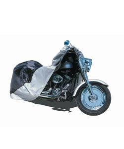 Large Black/Silver Nylon Motorcycle Cover (Fits 500cc-1,100cc Bikes)