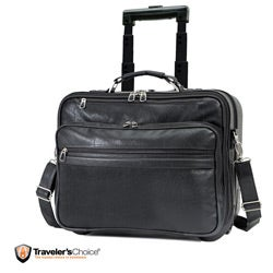 G Pacific Koskin Leather Rolling 13-inch Laptop Carry On Business Tote
