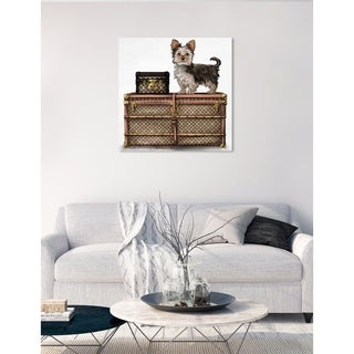 Oliver Gal 'Travelling Yorkie' Fashion and Glam Wall Art Canvas Print - Brown, White