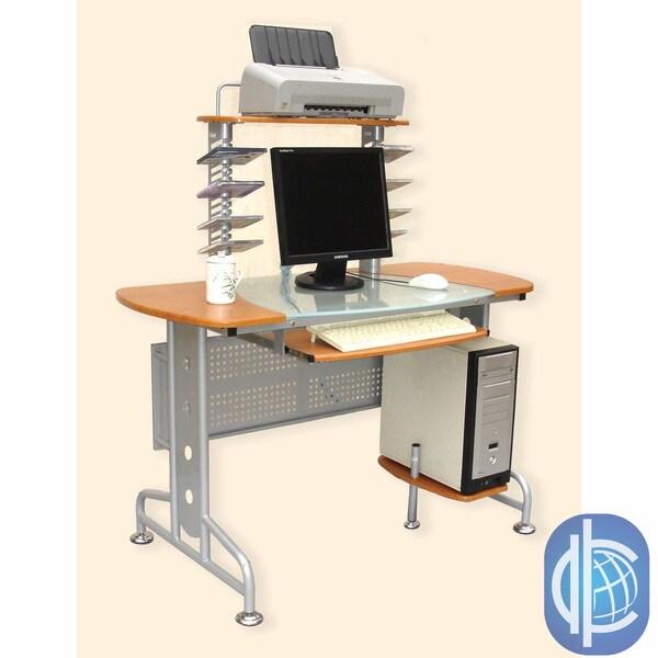 International Caravan Half Glass-Top Desk with 4 Levels and CD Holders