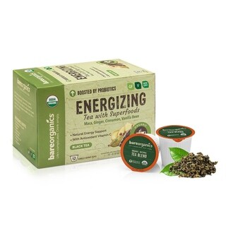 BareOrganics Energizing Tea with Superfoods (Keurig K-Cup Compatible) 12 Single Serve Cups