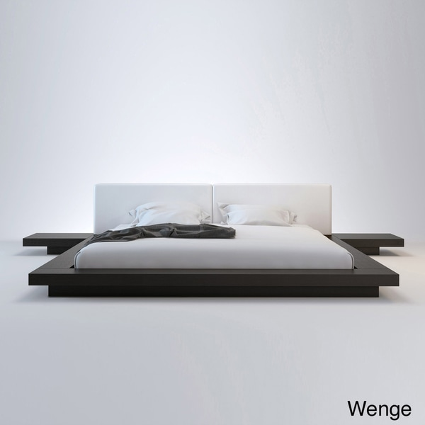 Worth King-size Platform Bed and 2 Nightstands