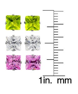 Tressa Sterling Silver Square 6mm Earring Set