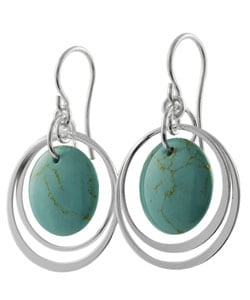 Tressa Sterling Silver Block Turquoise Earrings