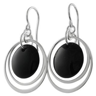 Journee Sterling Silver Black Onyx Shepherds Hook Earrings