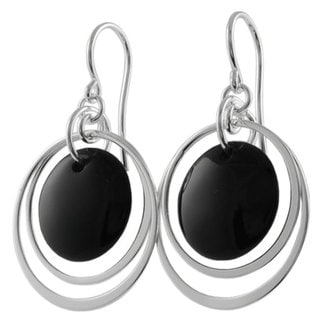 Tressa Sterling Silver Black Onyx Shepherds Hook Earrings