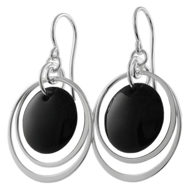 Journee Sterling Silver Black Onyx Shepherds Hook Earrings