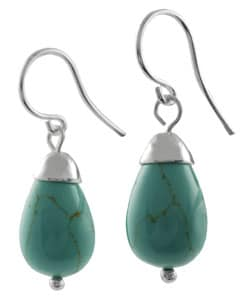 Tressa Sterling Silver Block Turquoise Bell Earrings