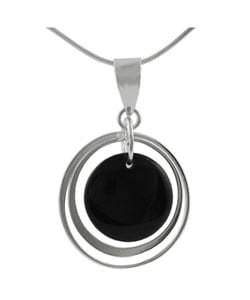 High-polish 18-inch Sterling Silver Black Onyx Pendant Necklace