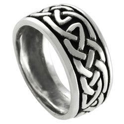 Journee Collection Sterling Silver Celtic Pattern Ring