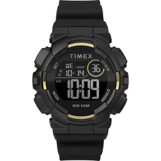 Timex Unisex TW5M23600 Mako DGTL Digital 44mm Black/Gold-Tone Silicone Strap Watch