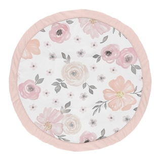 Sweet Jojo Designs Blush Pink, Grey and White Shabby Chic Watercolor Floral Collection Baby Tummy Time Playmat