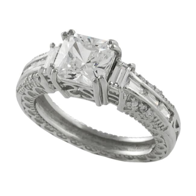 Journee Collection Sterling Silver CZ pave Bridal & Engagement Ring