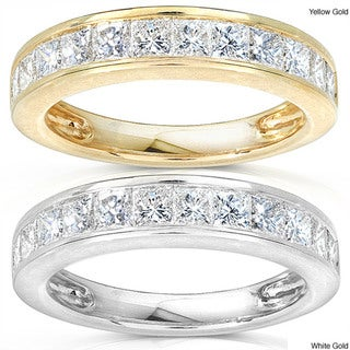 Annello 14k Gold 1ct TDW Princess Diamond Wedding Band (H-I, I1-I2)