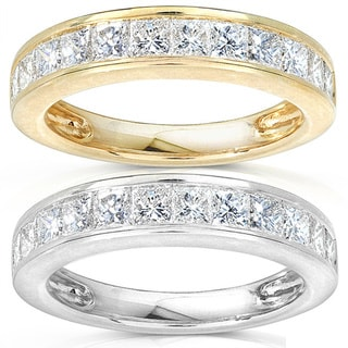 Annello 14k Gold 1ct TDW Princess Diamond Wedding Band (H-I, I1-I2) with Bonus Item