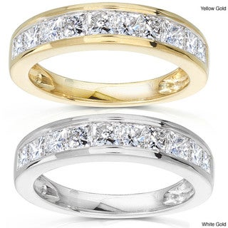 Annello 14k Gold 1ct TDW Princess Diamond Wedding Band (G-H, SI1-SI2)