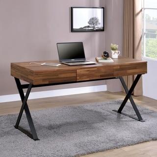 Furniture of America Vae Industrial Black 59-inch Metal 3-drawer Desk