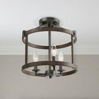 """LNC Farmhouse Antique Metal 3-Light Drum Foyer Ceiling Light - W12.2""""x H13"""""""