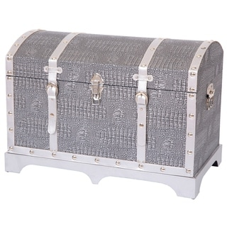 Vintage Faux Leather Metallic Silver Trunk with Belted Strap