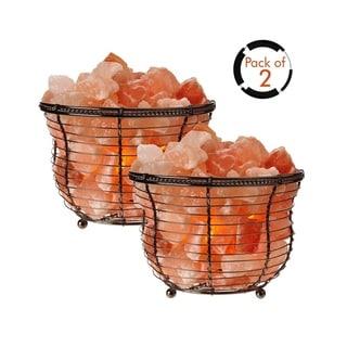 Himalayan Glow Basket Lamp with Salt Chunks-2 Pcs