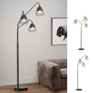 Midtown 3-light Wire Shades Dimmable LED Arch Floor Lamp