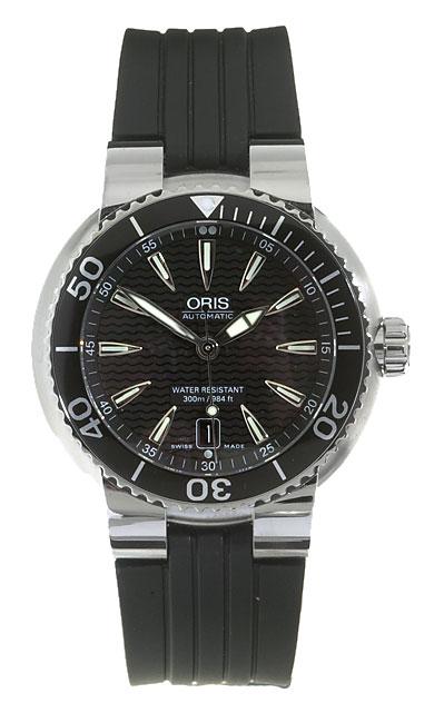 Oris Men's 73375338454RS Black Dial Automatic Diver Watch