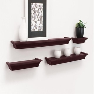 Set of 4 Home Decor Storage Display Wall Mounted Floating Shelf - Red