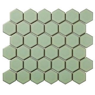 Barcelona Hexagon Glazed Porcelain Mosaic Tile Glossy Green with Retro Edge