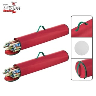 """Tiny Tim Totes Premium 2-Pack 40.5"""" Wrapping Paper Storage Bag Canvas"""