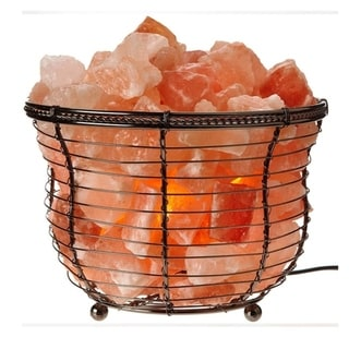 Himalayan Glow Natural Salt Round Basket Lamp, 8-10 lbs