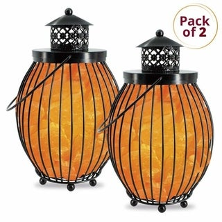 Himalayan Glow Metal Basket Lamp, 2 Pack