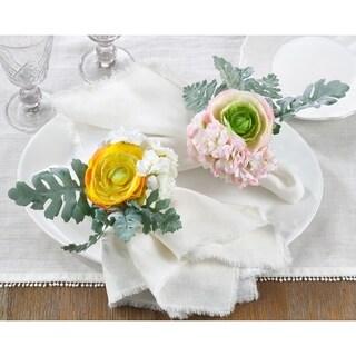 Napkin Ring Holders with Ranunculus Design (Set of 4)